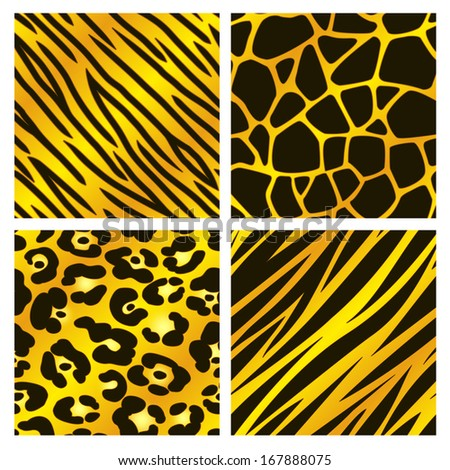 A collection of four different golden animal print backgrounds. Seamlessly repeatable. Raster. - stock photo