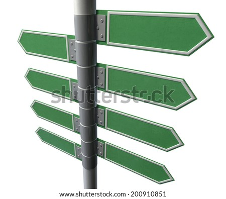 A collection of generic blank directional street signs eith facing left or right on a pole on an isolated white background