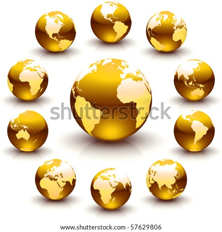 A collection of golden globe marble illustrations - stock photo