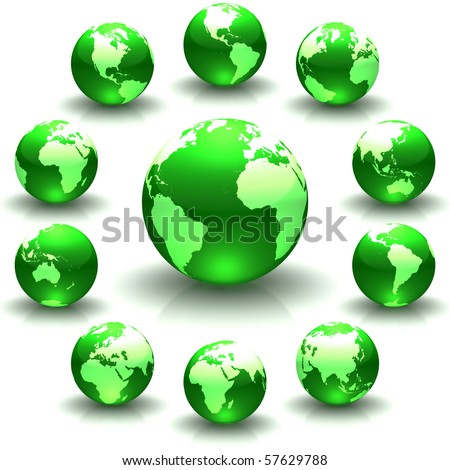 A collection of green globe marble illustrations - stock photo