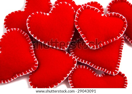 A collection of Hearts, two stand out, shallow Depth of Field - stock photo
