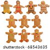 A collection of 10 home made gingerbread people.  Featuring: Boy in shorts, girl in bikini, groom, bride, happy man, worried man, sad man with one arm, blonde in bikini, old man, robot. - stock photo