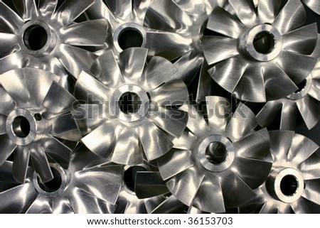 A collection of industrial fan blades - stock photo