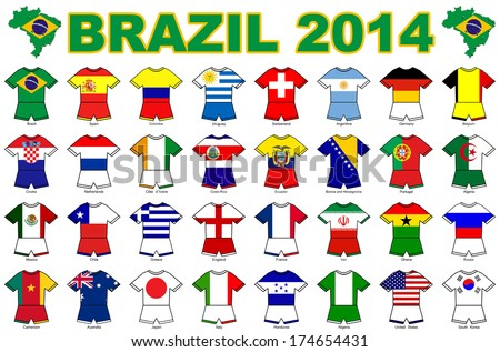 A collection of kit shaped flags of all of the national soccer teams competing at the 2014 football finals in Brazil. - stock photo