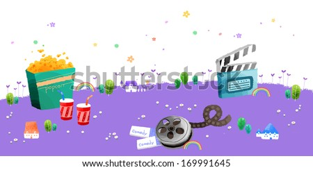 A collection of movie related items. - stock photo