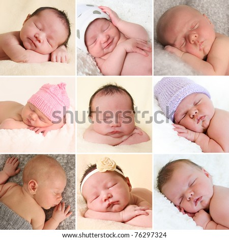 A collection of newborn baby faces. Boys and girls. All images also available in high resolution. - stock photo