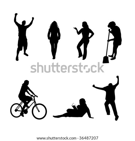 A collection of people silhouettes in different poses isolated over white.  All silhouettes were traced from photos found in my portfolio. - stock photo