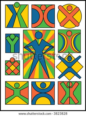 A collection of 11 people symbols. Vector also available. - stock photo