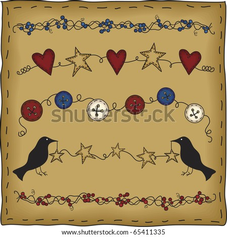 A collection of primitive style design elements perfect for your country crafting or scrapbooking needs. - stock photo