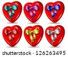 A collection of red hearts and colorful silk ribbons / Heart and ribbon collection - stock photo