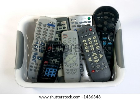 A collection of remote controls.