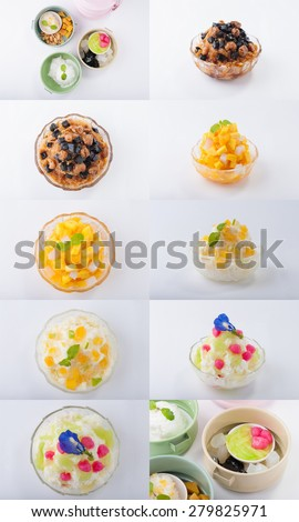 A collection of shave ice and mix Thai dessert - stock photo