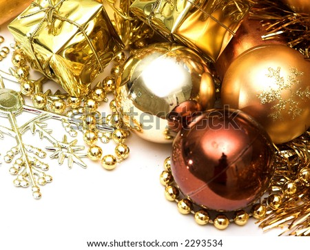 A collection of shiny Christmas decorations and tree adornments - stock photo
