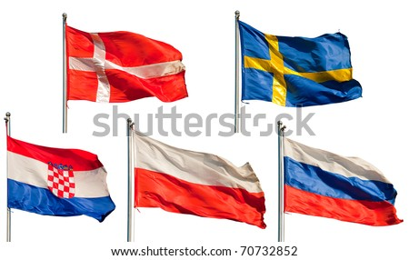 a collection of six european flags isolated on white background