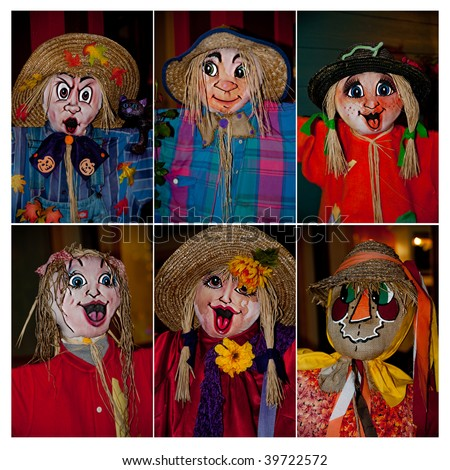 A collection of six scarecrow faces for fall decorating.