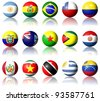 A collection of South American flags shaped as spheres / South American flags - stock photo
