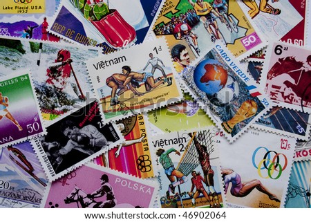 A collection of sport stamps from different countries, such as Vietnam, Cape Verde, Poland, Equatorial Guinea, Hungary, Korea and others - stock photo