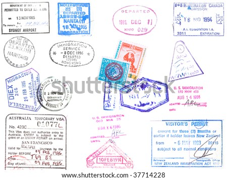 A collection of stamps and visa's on a white background from Japan, Korea, Hong Kong, Australia, Venezuela, United States and Egypt - stock photo