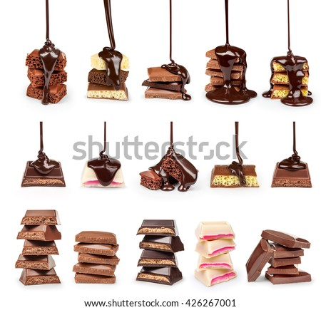 A collection of streams of hot chocolate on a stack of slices of chocolate isolated on white background - stock photo