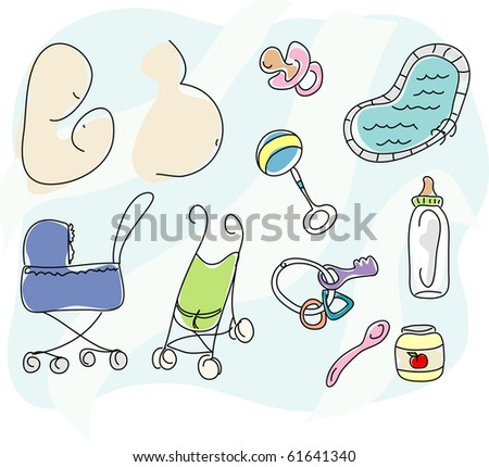A collection of stylized baby icons including a pregnant mother, a mother with baby, a pacifier, a rattle, toy keys, a swimming pool, a bottle, a spoon, baby food, an umbrella stroller and a pram - stock photo