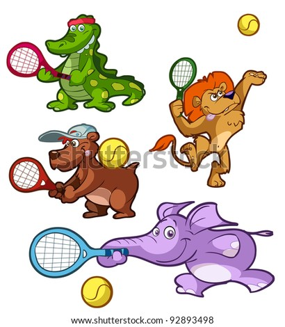 a collection of tennis playing animals