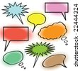 A collection of thought bubbles with halftone coloring. - stock photo