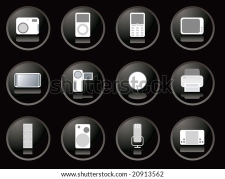 A collection of twelve electronic gadgets buttons in black