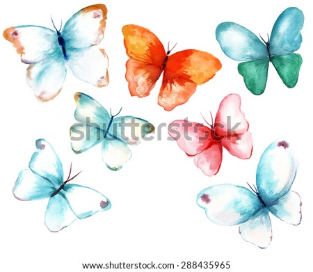 A collection of watercolour butterflies on white background - stock photo