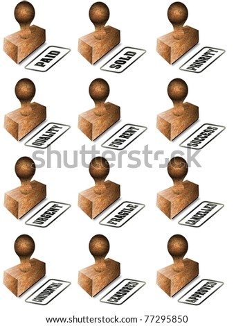 A collection of wooden rubber stamps on a white background / Rubber stamp collection - stock photo