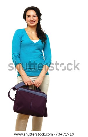 A college girl holding a bag - stock photo