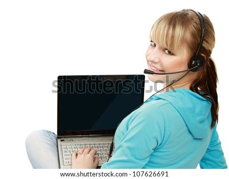 A college girl with a laptop and headset, isolated on white