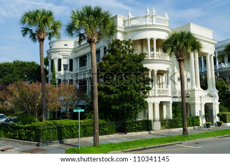 A colonial style of architecture in Charleston, South Carolina. - stock photo