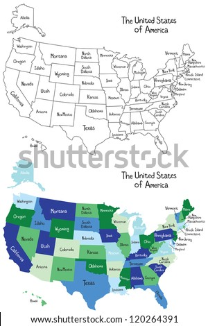 A color and a black and white outlined version of a map of the United States. Each state is labeled. - stock photo