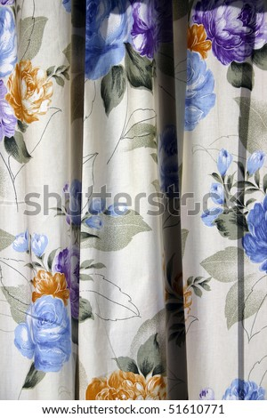 A color flower window curtain as background or texture. - stock photo