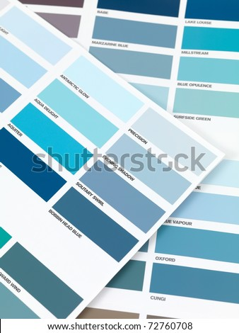A color paint chart showing modern colors - stock photo