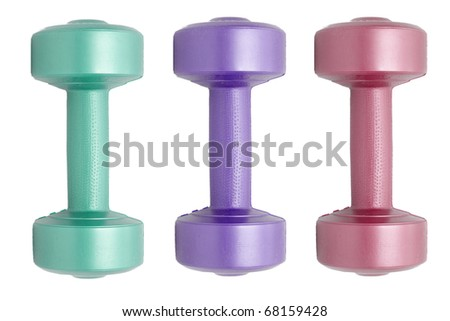 a colored dumbells on white - stock photo