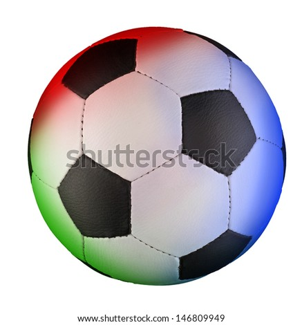 A colored football (soccer) ball with black pentagons and white hexagons isolated on white background