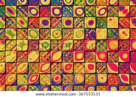 A Colorful Abstract Paint Textured Background with Checkered Squares - stock photo