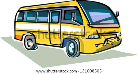 A colorful and artful representation of a medium sized bus.