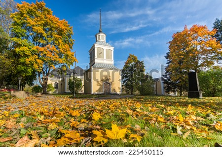 A colorful autumn day at the church of Kvevlax  - stock photo