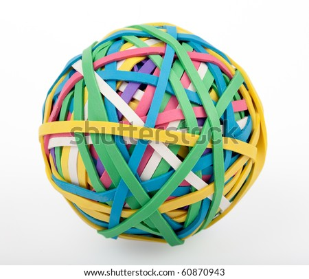 a colorful ball of rubber bands on a white background - stock photo