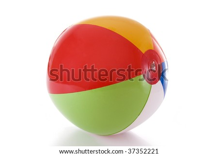 A colorful beach ball isolated on a white background - stock photo