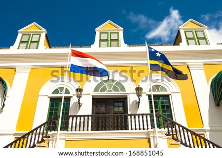 A colorful building in Willemstad Curacao - stock photo