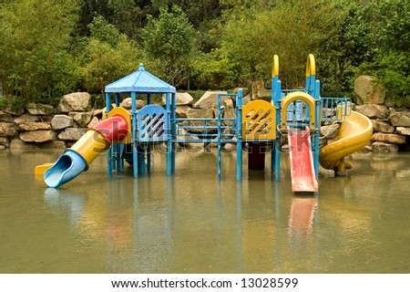 A colorful children playground on water park