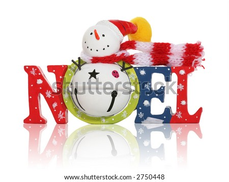 A colorful Christmas themed decoration with Noel and snowman - stock photo