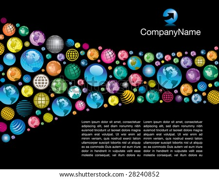 A colorful, corporate global page layout background - stock photo