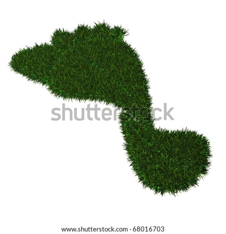A Colorful 3d Rendered Green Grass Carbon Footprint - stock photo