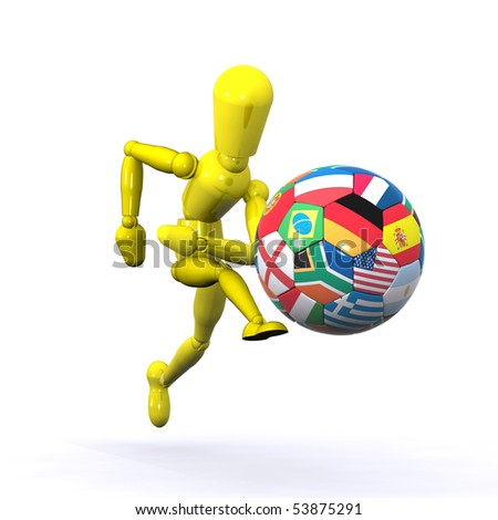 A Colorful 3d Rendered World Soccer Player - stock photo
