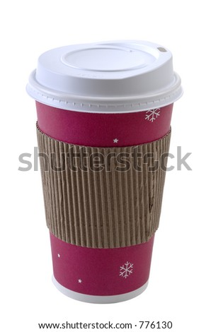 A colorful disposable coffee cup with safety cardboard collar. Super isolation. Focus= front plane of cup. 12MP camera. - stock photo