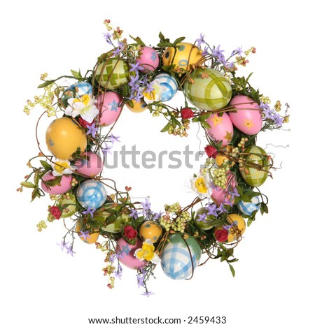 A colorful Easter egg wreath isolated over white - stock photo